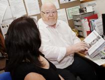 A client having a benefits interview