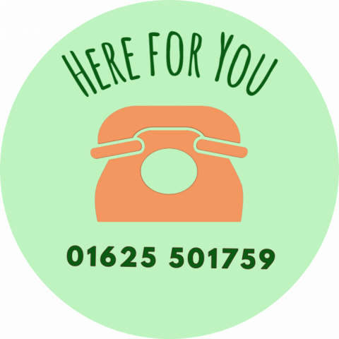 Here for you logo and phone number 01625 501759
